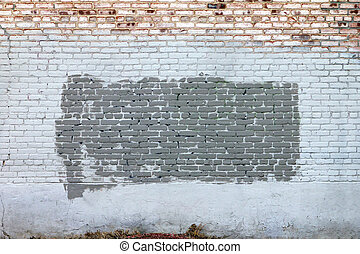 Grunge Brick Wall With Old Paint Texture Background - Grunge...