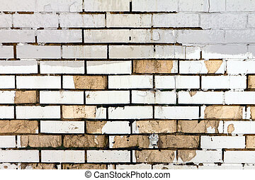 Grunge Brick Wall With Dirty Old Paint Texture Background.