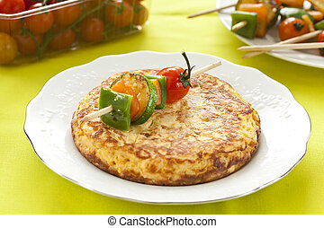 omelette with grilled vegetable skewer - tasty potatoes...