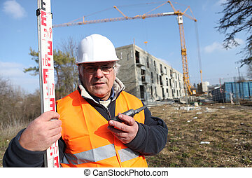 surveyor on a construction site