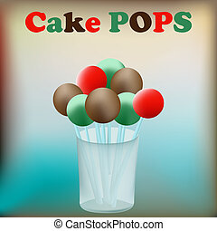 Cake Pops - Background illustration with Cake Pops in a...