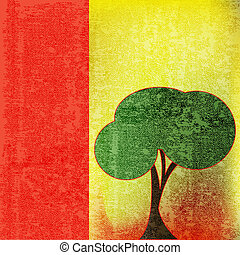 Green Tree, Environmental Paper Background Illustration