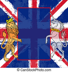 Lion and the Unicorn over a Union Jack for a British Royal...