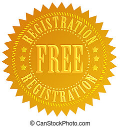 Free registration icon - Free registration gold icon