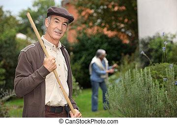 Sênior, pessoas, jardim