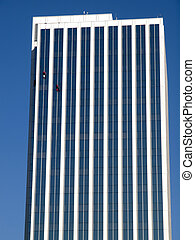 Window washers, Portland Oregon. - Window washers on a high...