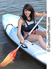 teenage girl doing canoe