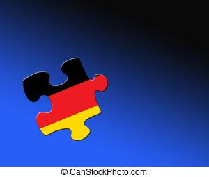 German jigsaw piece - A single jigsaw piece filled with flag...