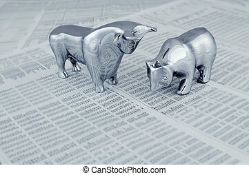 Stock market report with bull and bear - Business concept -...