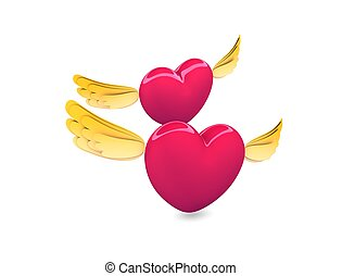 Flying heart - 3d rendering, conceptual image, flying hearts...
