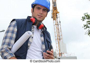 capataz, construção, local