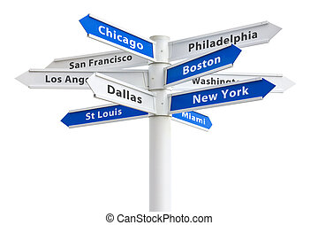 Major US Cities on a Crossroads Sign - Major US cities on a...