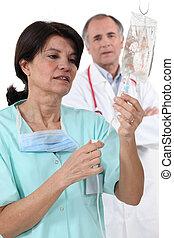 doctor, Enfermera, IV, goteo