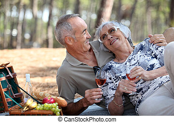 senior couple having a romantic picnic in the park