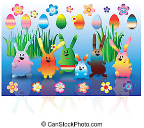 Easter set of colorful rabbits, eggs and flowers