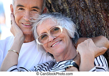 Elderly couple enjoying each others company