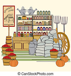 General Store - general store illustration    vector eps10