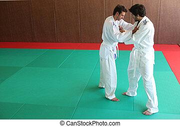 Judo grasp.