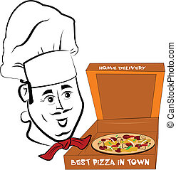 pizza chef - Italian pizza chef in front of boxed pizza