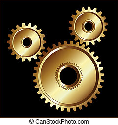 Gold gears design - Gold gears isolated design