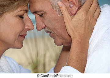 Closeup of a mature couple in love