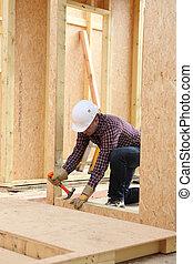 Un, construcción, trabajador, edificio, sitio