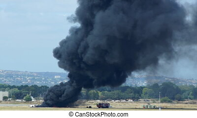 Fire in Adelaide airport - close-up