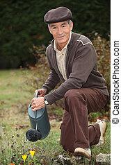 Man watering plants in his garden