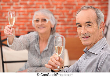 Senior couple having a dinner in a restaurant