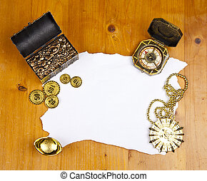 Pirate blank map with treasure, coins, medal and ring