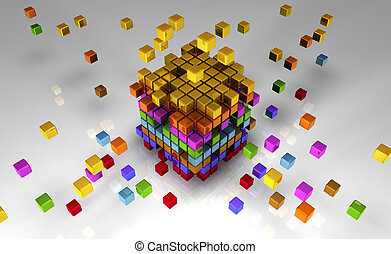 512 Cubes - 3D Bitmap Illustration of 512 Bits of Code
