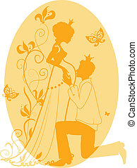 Silhouette of pregnant queen and king