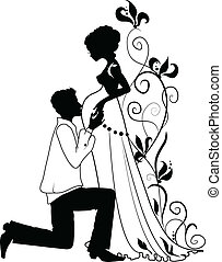 Silhouette of pregnant woman and man - Silhouette of floral...