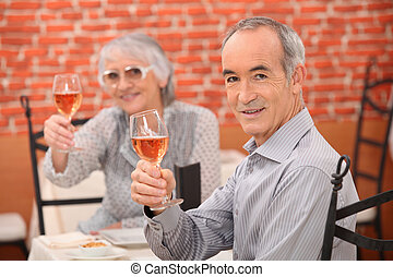 Older couple in a restaurant