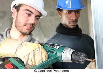 Eletricistas, construção, local