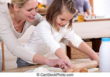 hija, ella, Cómo, endurecer, madre, enseñanza
