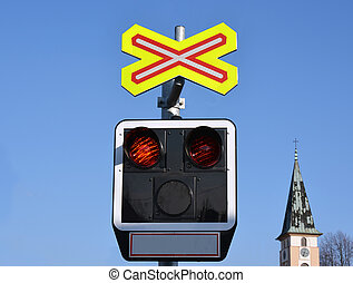 Train Crossing, flashing lights