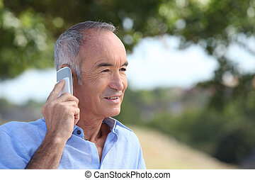 Old man with a cellphone