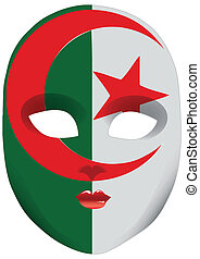 Mask Algeria - Classic mask with symbols of statehood of...