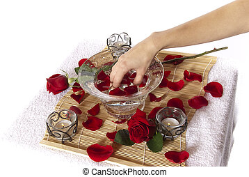 Pampering manicure hand soak spa - Rose petal hand spa...