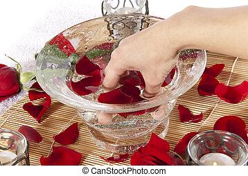 Pampering manicure hand soak spa - Rose petal hand spa...