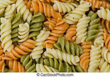 Tri Colored Pasta covered in Olive Oil