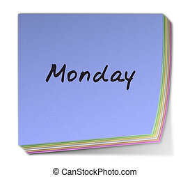Monday - Color Post-it Note With Handwritten Weekday in...