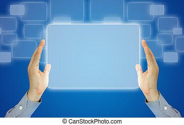 Businessman holding touchscreen