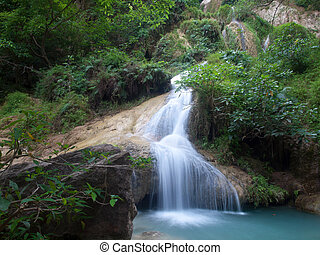 Erawan waterfall - Emerald color water in tier seventh of...