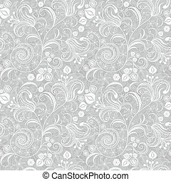 Seamless gray floral pattern - Seamless gentle gray-white...