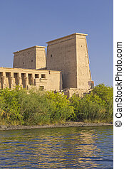 he Temple of Isis at Philae island in Lake Nasser ( Egypt)