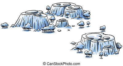 Rocky Hills - A cluster of rocky, cartoon hills surrounded...