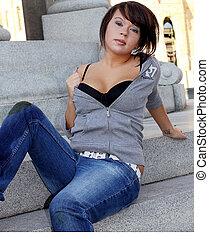 beautiful lady laying on steps