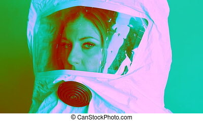 Nuclear suit. Psychedelic. - Young woman wearing...